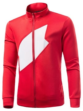 Ericdress Casual Color Block Zip Men's Hoodie