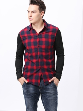 Ericdress Long Sleeve Patched Plaid Casual Men's Shirt