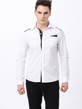 Black Lapel Long Sleeve Single-Breasted Shirt