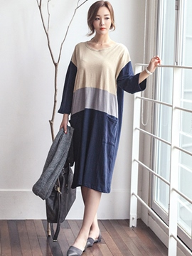 Ericdress Color Block Loose Pocket Casual Dress