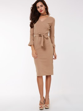 Ericdress Cross V-Neck Trumpet Cuff Sheath Dress