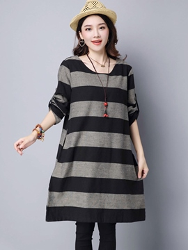 Ericdress Strip Round Neck Loose Knee-Length Casual Dress