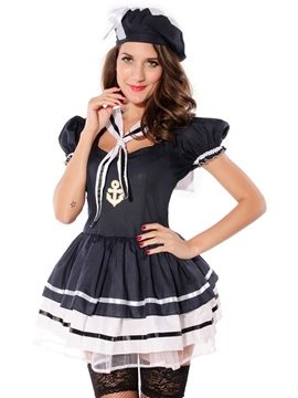 Ericdress Color Block Patchwork Sailor Cosplay Costume