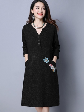 Ericdress Embroidery Single-Breasted Casual Dress