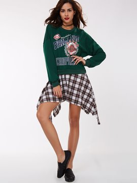 Ericdress Letters Printed Plaid Patchwork Hoodie