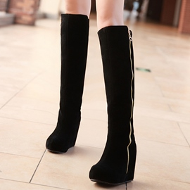 Ericdress Suede Side Zip Elevator Heel Thigh High Boots