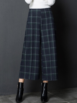Ericdress Plaid High-Waist Elastics Thick Loose Wide Legs Pants
