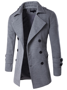 Ericdress Notched Lapel Double-Breasted Plain Casual Men's Woolen Coat