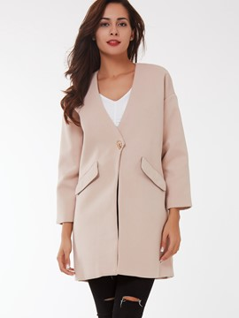 Ericdress Solid Color V-Neck One-Button Coat