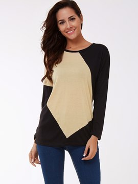 Ericdress Color Block Round Neck Loose T-Shirt