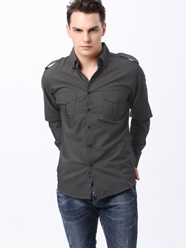 Ericdress Solid Color Pockets Design Casual Men's Shirt