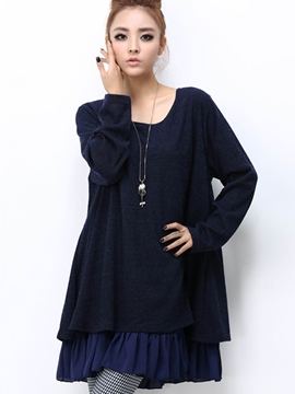 Ericdress Solid Color Patchwork Loose Casual Dress