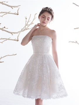 Ericdress Charming A Line Strapless Short Lace Wedding Dress