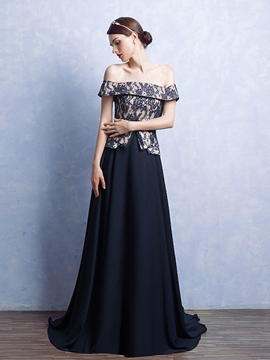 Ericdress A-Line Off-the-Shoulder Bowknot Lace Court Train Evening Dress