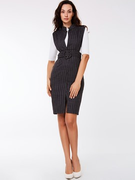 Ericdress Vintage Stripe Dress Leisure Suit