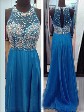 Ericdress Stunning A-Line Scoop Beading Crystal Long Evening Dress