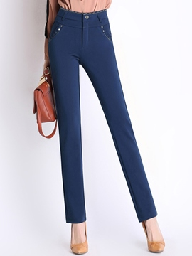 Ericdress Simple Straight Pocket Pants
