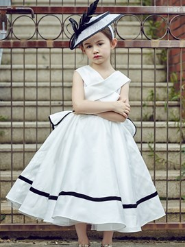 Ericdress Vintage Black and White A Line Tea Length Flower Girl Party Dress