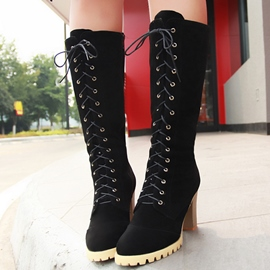 Ericdress Pretty Suede Lace up Knee High Boots