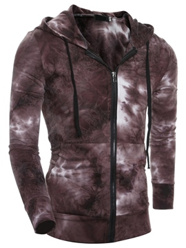 Ericdress Gradient Casual Zip Men's Hoodie