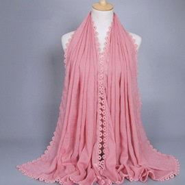 Eicdress Lace Border Cotton Scarf