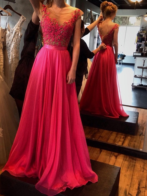 Ericdress A-Line Scoop Cap Sleeves Appliques Beading Evening Dress 2019
