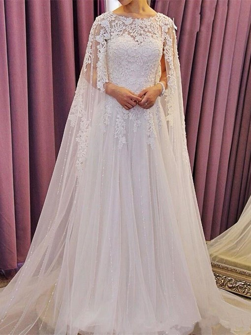 Ericdress Watteau Train Button Sequins Lace Wedding Dress