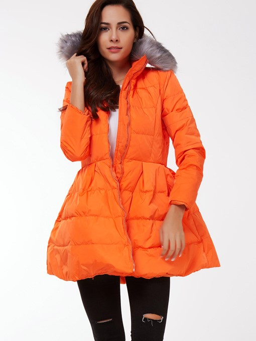 Ericdress Orange Belt Down Coat