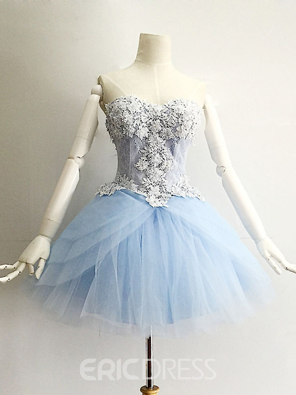 Ericdress A-Line Sweetheart Appliques Beading Lace Mini Homecoming Dress