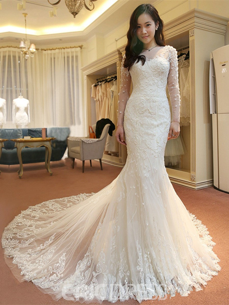 Ericdress Charming Long Sleeves Lace Mermaid Wedding Dress 12450851 ...