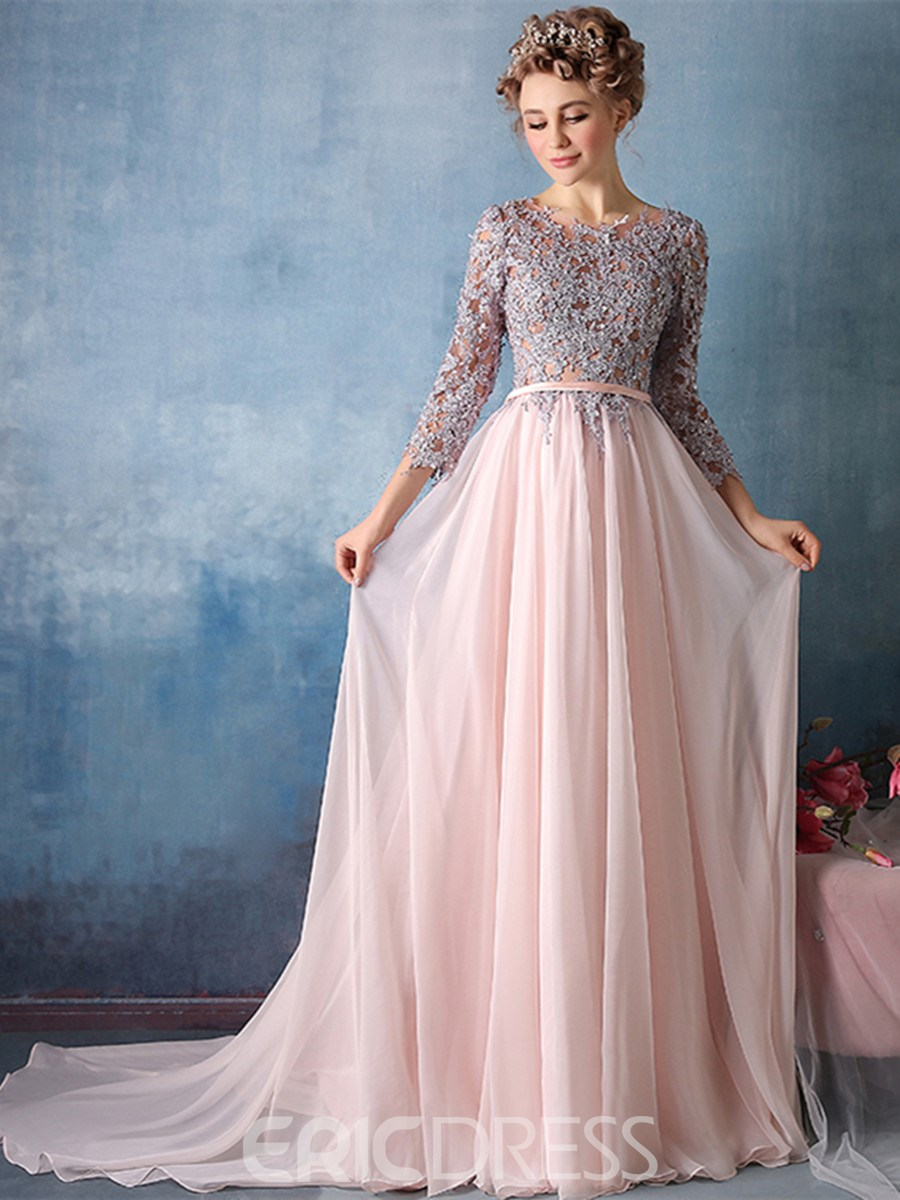 Ericdress 3/4 Sleeve Applique Chiffon A Line Long Evening Dress ...