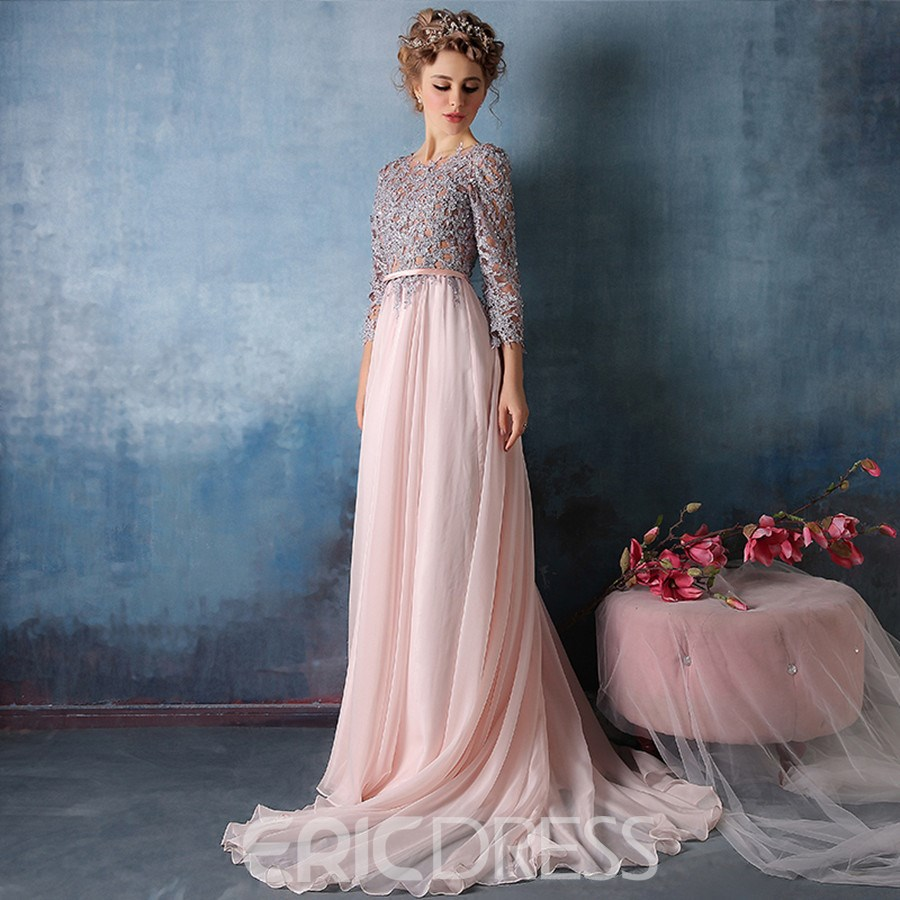 Ericdress 3/4 Sleeve Applique Chiffon A Line Long Evening Dress