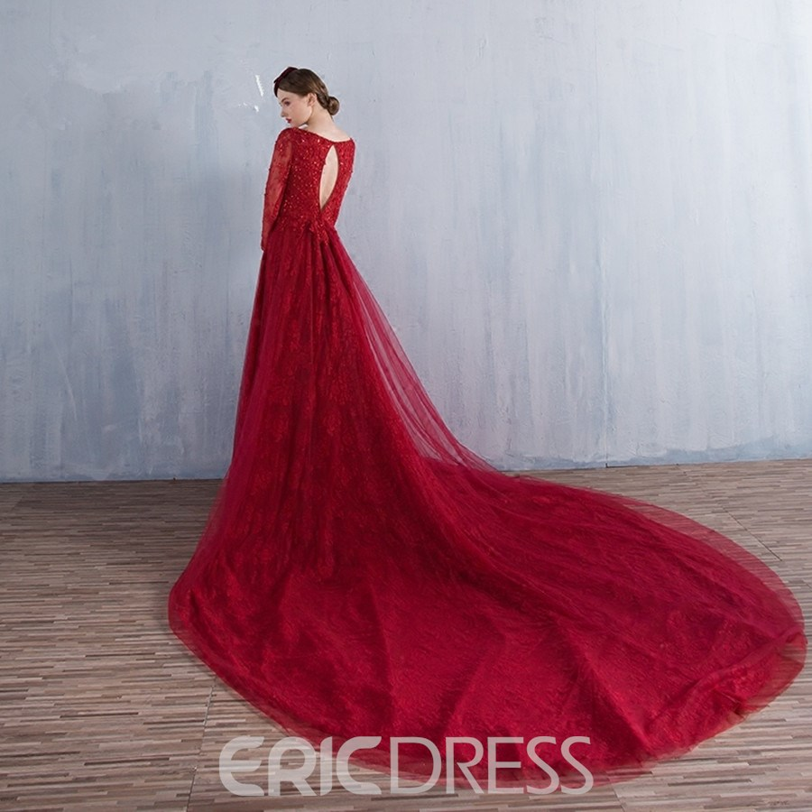 Ericdress A-Line Bateau 3/4 Length Sleeves Appliques Beading Lace Seauins Cathedral Train Evening Dress