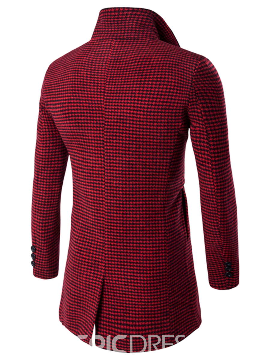 Ericdress Houndstooth Mid-Length Vogue Woolen Men's Coat
