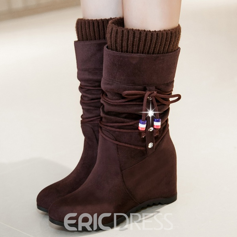 Ericdress Lovely Kintting Patchwork Elevator Heel Knee High Boots