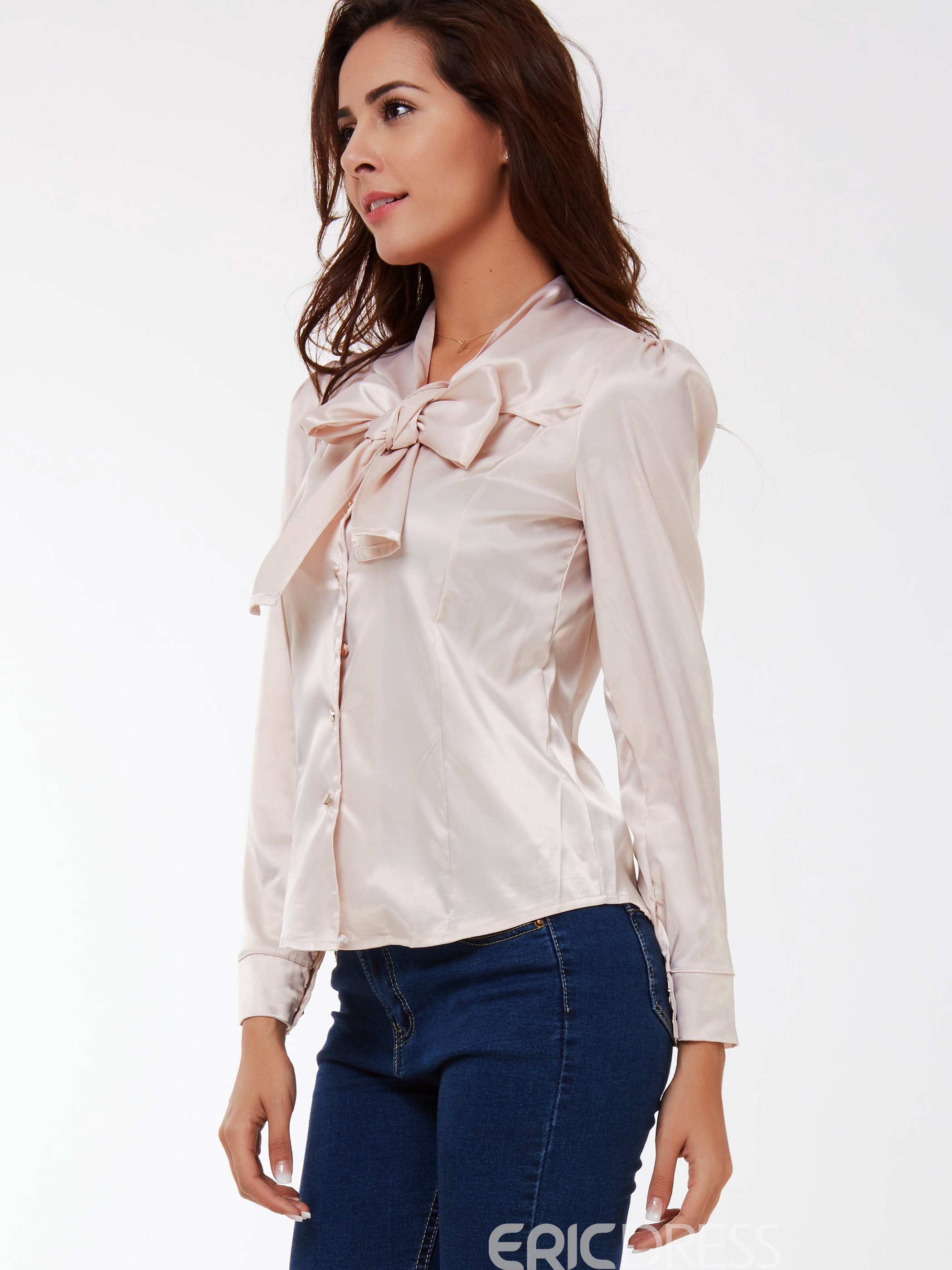 Ericdress Bow Knot Long Sleeve Blouse
