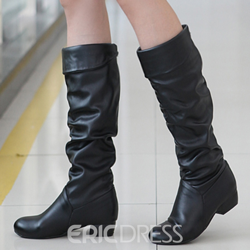 Ericdress Simple PU Square Heel Calf High Slouchy Boots