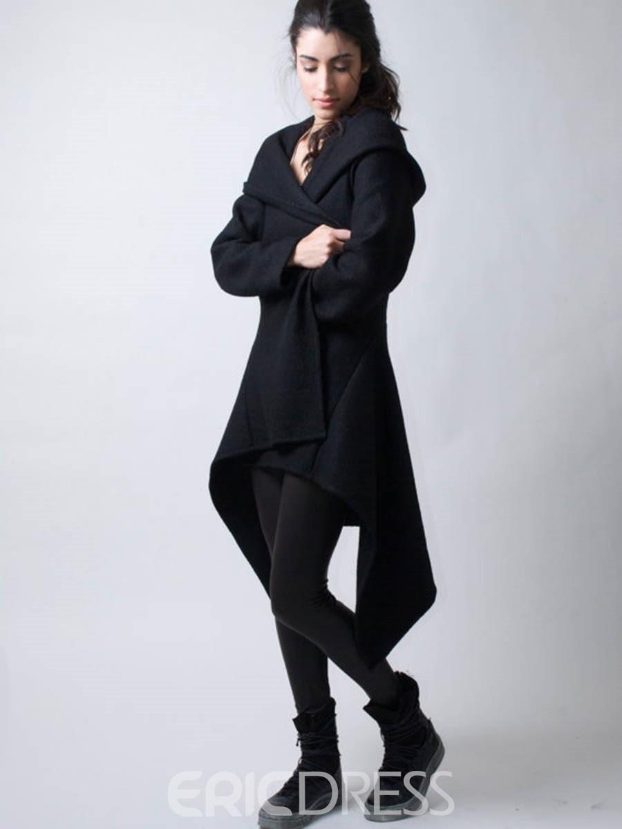 Ericdress Solid Color Slim Hooded Trench Coat