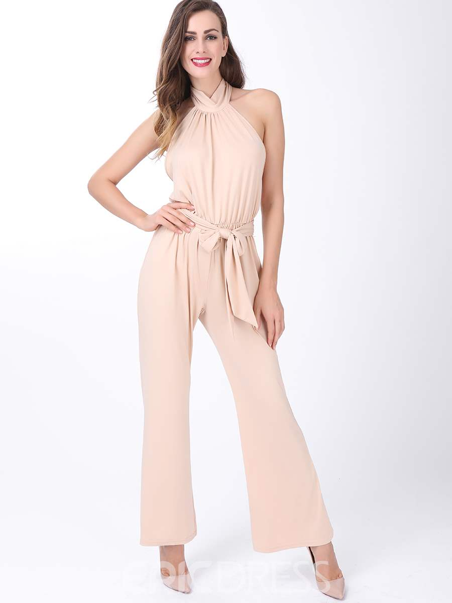 Ericdress Elegant Pleated Lace-Up Jumpsuits Pants