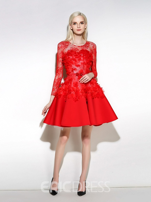 Ericdress Scoop A-Line Long Sleeves Beading Lace Sashes Mini Cocktail Dress
