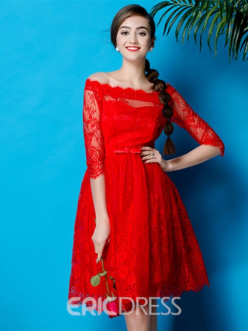 Ericdress Off The Shoulder Lace Short A Line Cocktail Dress With Half Sleeve