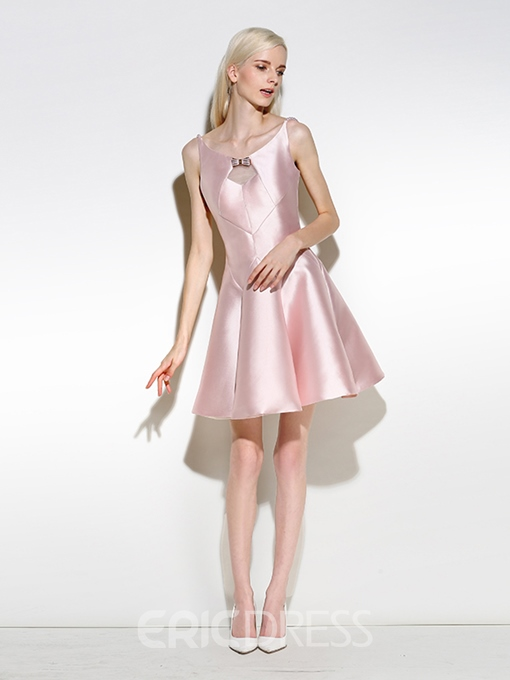 Ericdress A-Line Scoop Bowknot Hollow Pearls Short Cocktail Dress