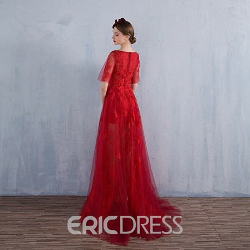 Ericdress A Line Short Sleeve Applique Tulle Sweep Train Evening Dress