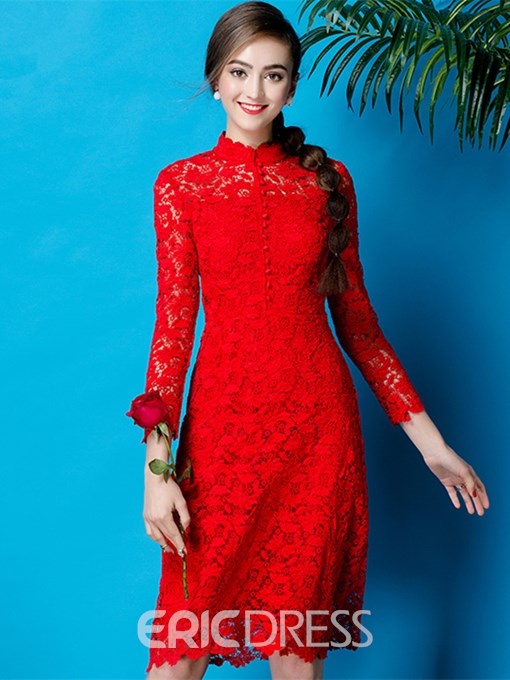 Ericdress High Collar Long Sleeve Lace Cocktail Party Dress
