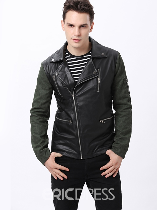 Cool Lapel Patchwork Zip-Front Long Sleeve PU Jacket