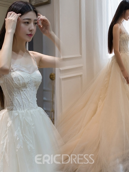 Ericdress Spaghetti Straps Lace-Up Appliques Wedding Dress