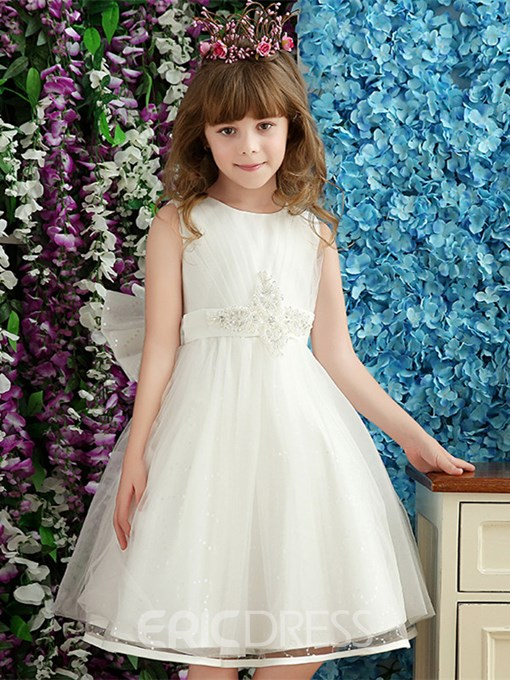 Ericdress Beautiful Beaded Bowknot A Line Flower Girl Dress