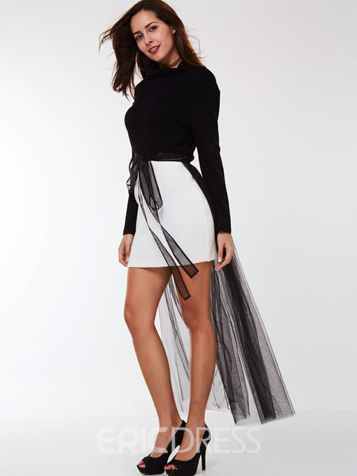 Ericdress Color Block High Neck Mesh A L ine Dress