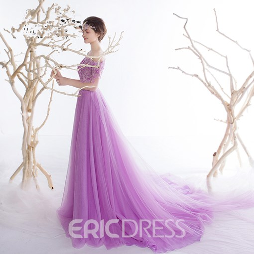Ericdress A-Line Off-the-Shoulder Short Sleeves Beading Lace Sequins Prom Dress