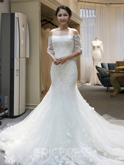 Ericdress Off-the-Shoulder Beading Appliques Mermaid Wedding Dress